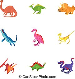 Different dinosaur icons set, cartoon style - Different...
