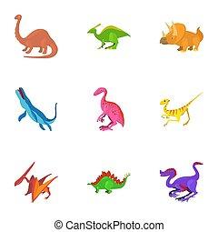 Different dinosaur icons set, cartoon style