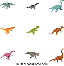 Different dinosaur icons set, flat style - Different...