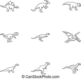 Different dinosaur icons set, outline style - Different...