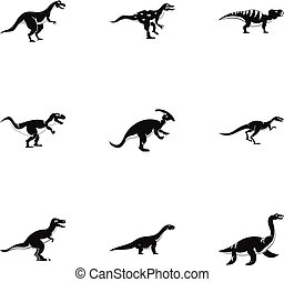 Different dinosaur icons set, simple style - Different...
