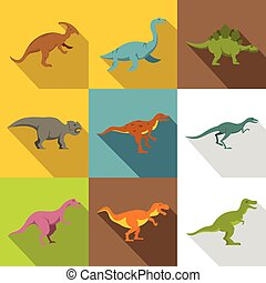 Different dinosaurs icon set, flat style - Different...