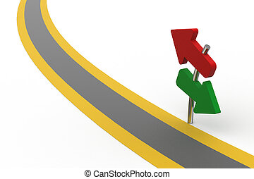 Different direction arrows on the road