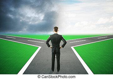 Different direction businessman