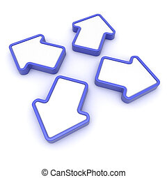Different directions - Four blue arrows diverge in different...