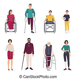 Different disabled people. Cartoon flat illustrations set.
