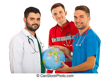 Different doctors with world globe