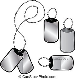 Different dog tags on white