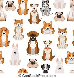 Different dogs in cartoon style. Vector seamless pattern