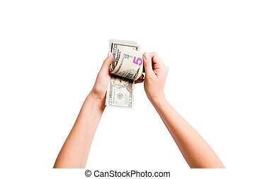 Top view of female hands counting dollar banknotes on white isolated background. Investment and prosperity concept.