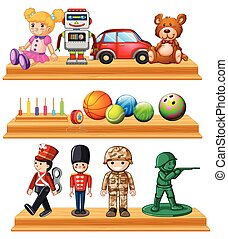 Different dolls and balls on shelves illustration