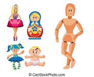 Different dolls toy character game dress and farm scarecrow...
