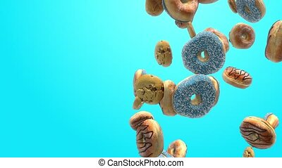 Different donuts on a blue background 4K