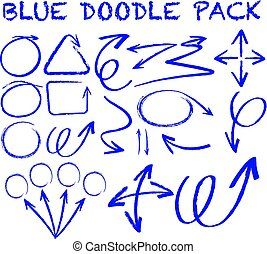 Different doodle strokes in blue color