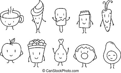 Different doodle style food products