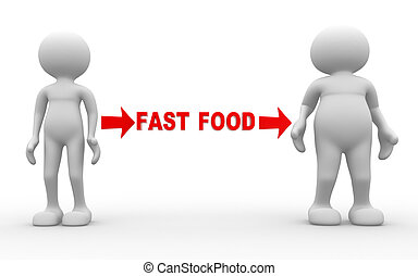 Different - 3d people - men , person weak and fat. Fast food