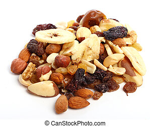 Different dried fruits against white background