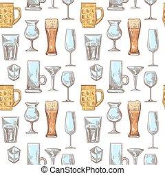 Different Drink Beverage Glasses Seamless Pattern. Stemware...