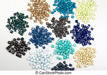 different dyed plastic pellets