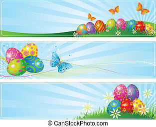 Different Easter banners - Illustrated set of three ...