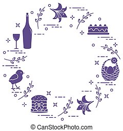 Different Easter symbols arranged in a circle: simnel cake, chick, lily, baskets, eggs and other.