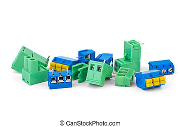 Different electrical connector blocks isolated on the white ...