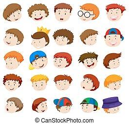 Different emotions of little boys illustration