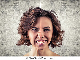 Different emotions - Photo of the girl with a different...