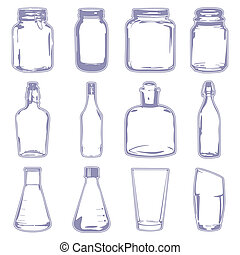 A vector illustration of different empty containers