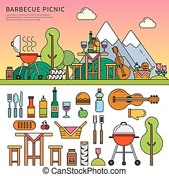 Different equipment for picnic