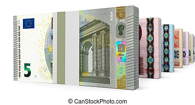 Different Euro bank notes.