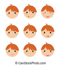 expression icons - different expression icons on white ...