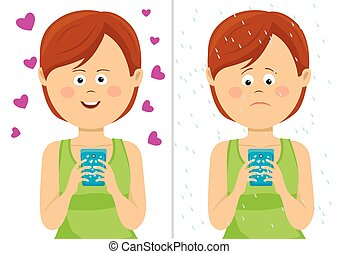 Different expressions of young woman with smartphone. Happy and unhappy comparison