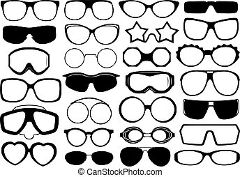 Different eyeglasses isolated on white