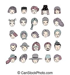 Different faces. Hand drawing isolated objects on white background.