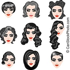 different faces of women with hairstyles