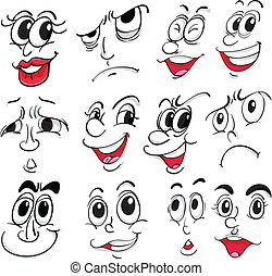 Different facial expressions - Illustration of the different...
