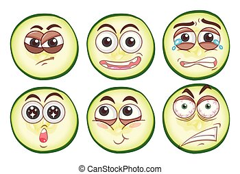 Different facial expressions on cucumber