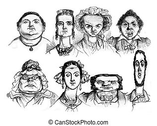 Different facial shapes, Types of caricatures, vintage engraving.