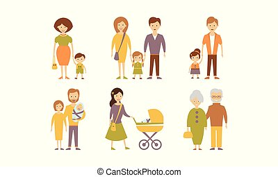Different families set, mother, father, son, daughter, grandparents vector Illustration on a white background