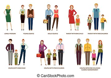 Different family compositions and couples with children and without. Lonely person and elderly grandparent