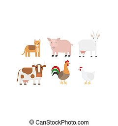 Different farm animals icons set