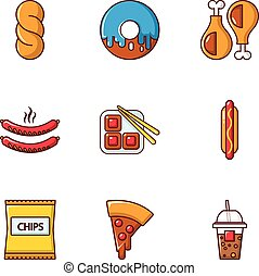 Different fast food icons set, flat style