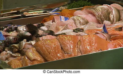 Different filleted fish in a supermarket - A close up...