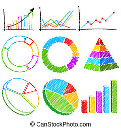 Different Financial Graph - illustration of set of bar...