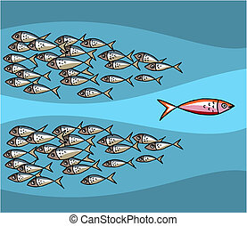 Different Fish Swimming Against The Tide. Blue background. Vector available