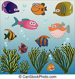 Different fish under the sea