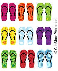 flip flops - different flip flops on white background