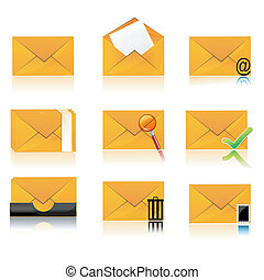 different folder icons - illustration of collection of...