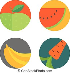 Different food color flat icons